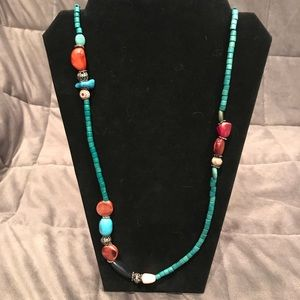 Long Boho Necklace Multi-Colored Necklace